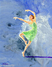 Original Acrylic Abstract Ballerina Painting -A Dance With Angel, Artist Signed