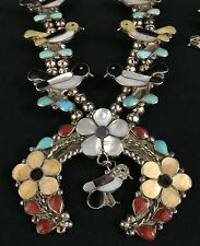 Zuni Inlay Squash Blossom Necklace Set *Dead Pawn*