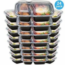 24 Meal Prep Reusable Food Containers Storage Microwavable 2 Compartment 32  Oz