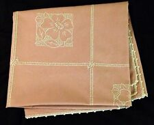 """True Vintage Adorable Pink Tea Tablecloth  Hand Embroidered, 42"""" x 38"""""""