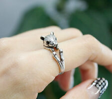 Hamster Animal Ring Adjustable Silver Squirrel Finger Wrap AR-26