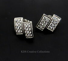 925 Sterling Silver Pave Style Cubic Zirconia CZ Stud Earrings