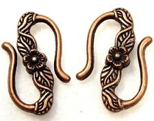 "50Pcs. WHOLESALE Tibetan  Antique Copper Flower ""S"" Clasps Hooks Connector Q0363"