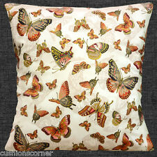 "JAPANESE ORIENTAL BUTTERFLIES Cream metallic gold rust  16"" Pillow Cushion Cover"