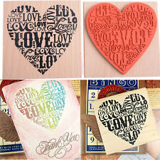 Cute Wooden Rubber Love Heart Stamp For Diary Scrapbooking Card Making DIY Craft
