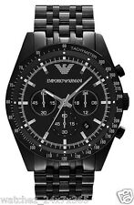 EMPORIO ARMANI CHRONOGRAPH MEN'S WATCH AR5989 BLACK ION PLATED STEEL CASE & BAND