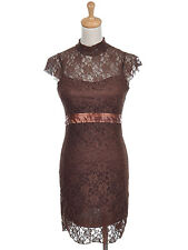 Women's S/M Fit Brown Short Sleeve High Neck Formal Cocktail Party Dress