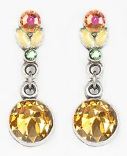 NEW ANNE KOPLIK SUNFLOWER YELLOW ROUND CRYSTAL DROP PIERCED EARRINGS ~USA MADE~