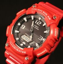 CASIO AQS810WC-4A MEN'S RED SOLAR ANALOG DIGITAL SPORTS WATCH