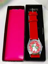 RARE NEW OLD STOCK BEAR WITH SCARF WATCH - WHITE BEAR RED FACE & BAND COCA COLA?