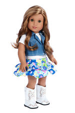 Feeling Happy - 18 inch Western Doll Outfit, Jeans Vest Cowgirl Boots Skirt