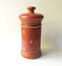 Limoges Porcelain Apothecary Jar, Brick Red & Gold Bee Decor 1960s Vtg France