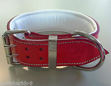 Large Red Leather Dog Collar with Soft White Leather Inner Lining