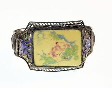 Antique Cloisonne Chinese Export Filigree Bracelet Silver Gilt Chinese Shou