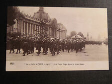 CARTE POSTALE REPRODUCTION GUERRE poilus belges devant le grand palais paris