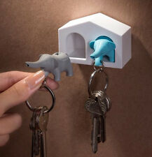 NEW QUALY MINI WHITE HOUSE DUO ELEPHANTS WHISTLE CUTE HOME DECOR KEYRING HOLDER