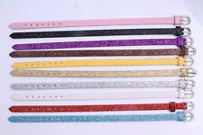100pcs Wholesale  Shiny PU Leather Wristband Buckle Belt Bracelets fit beads MIX