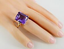 14k 7 Carat Amethyst Ring with Fligree Setting Size 8