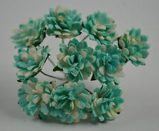 50 SKY BLUE ASTER daisy Mulberry Paper flower for wedding miniature cardmaking