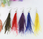 6Pairs Fashion Natural Peacock Strip Feather Earrings #21042