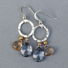 U&C Sundance Iolite Mystic Quartz, Ametrine Rose Gold & Sterling Silver Earrings