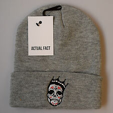 Actual Fact Biggie Day of the Dead Skull Notorious Roll Up Grey Winter Wooly Hat