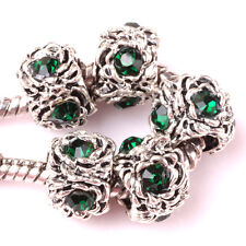 10P Tibetan silver Hole green CZ spacer beads fit Charm European Bracelet #Z076