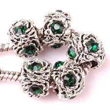 10P Tibetan silver Hole green CZ spacer beads fit Charm European Bracelet AA076