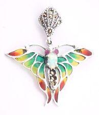 Farfalla Opal RUBINO SMALTO Markasit CIONDOLO ARGENTO 925 Sterling Argento