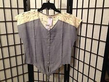 Charlotte Russe Small Solid Denim Blue W/Lace S/S Yoke Top NWT