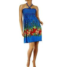 Silky Stretch Hawaii Floral Halter Summer Short Tube Top Sundress Dress Blue L