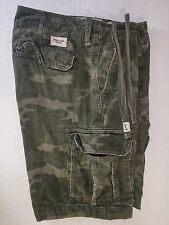 Abercrombie Fitch Heavyweight All Green Camo Cargo Shorts Tag 34 W 36 Mens 2954