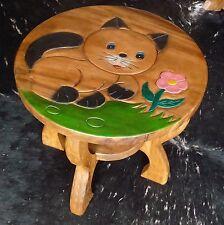 Kindertisch H.44cm Tisch aus Holz für Kinder Sitzgruppe, Holz, süße Katze