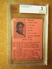 1961 7 11 Seven Eleven RARE Willie Mays San Francisco Giants Beckett BVG 3 BGS