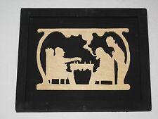 Framed Scroll Saw Art Carving Wood Wooden Family CHESS MATCH Game Player Playing