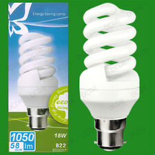 4x 18W Daylight SAD Low Energy CFL 6500K White Light Spiral Bulbs BC B22 Lamps