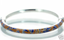 Milor Italy Solid 925 Sterling Silver Enamel Cuff Bangle Bracelet '