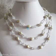 "54"" 6-7mm White With Black Wave Freshwater Pearl Crystal Necklace UJ"