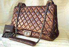 Authentic Chanel Quilted Reissue Calfskin Accordion Flap Bronze Bag Tote Huge!