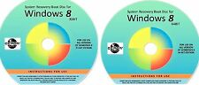 WIN 8, 32 & 64 Bit System Recovery Software Disc's - 2016 x 2