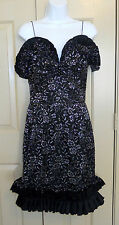 Nina Ricci Haute Boutique Celia Dress black silk silver lace ruffle sheath sz 12
