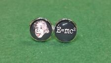 Albert Einstein Tongue Glass domed cufflinks, e=mc2
