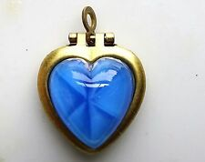 #515K Vintage Heart Locket Pendant Moonstone Blue NOS Gold Tone Star Sapphire
