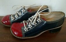 Vintage 1960s Red White Blue Chunk Heel Mod Shoes HiBrows Size 5.5 Spectator