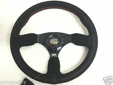 Mugen Style 350mm Suede Leather Flat Dish Steering Wheel OMP Rally Drifting F