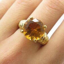 925 Sterling Silver Gold Plated Large Real Citrine Gemstone Ring Size 8