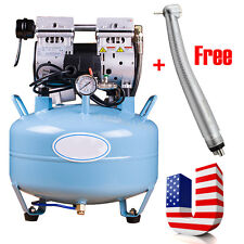 USA+ Noiseless Oilless Medical Dental Air Compressor Unit 30L Oil Free Handpiece