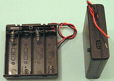 4 x AA Battery Enclosed Plastic Battery Box + Miniature Slide Switch and Leads