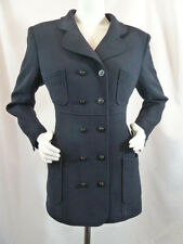 Chanel Boutique Heritage Vintage Navy Heavy Wool DB CC Coat Jacket 46 L Large