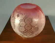 """Victorian Acid Etched Cranberry Pink Oil Lamp Globe Shade Flowers Duplex 4"""" A1"""